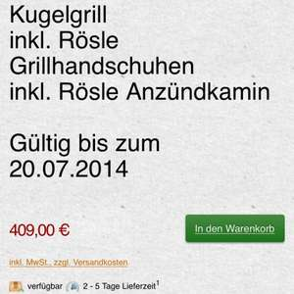 60cm Rösle Kugelgrill inkl. Grillhandschuhen und Anzündkamin