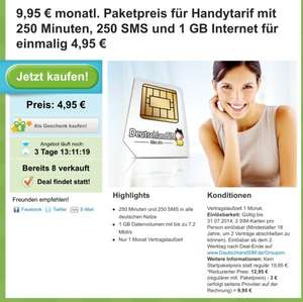 DeutschlandSim über Groupon O2 Netz 1GB 250min. 250SMS 9,95€/Monat