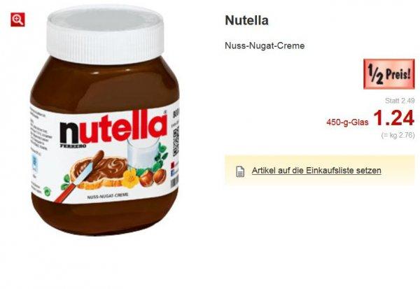 (Lokal Kaufland) Glas Nutella 450g 1.24€   /   2.76€ kg       ab 14.07 +Weiter Gute Angebote 1/2 Preis Landesweit NRW