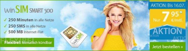 WinSIM Smart 500/1000 o2 Netz - 250 Minuten, 250 SMS, 500MB /1 GB Internet, monatlich kündbar, pro Monat 7,95€/9,95€