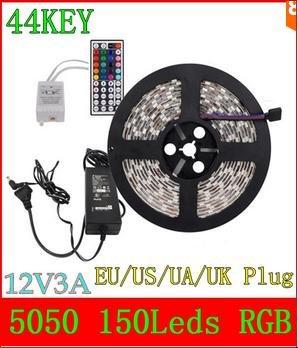 [Aliexpress] 5 Meter LED Rgb 5050 Strip mit 44er Fernbedienung & Netzteil(3 A)