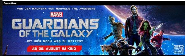 "KOSTENLOS ins Kino zu Marvel's ""Guardians of the Galaxy 3D"", tägliches Kontingent"
