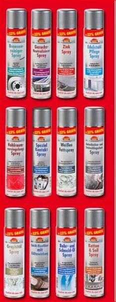 [Norma ab 16.7.2014] verschiedene Fett & Pflegesprays 400ml zb. Kettenspray, Zinkspray, Bremsenreiniger, Unterbodenschutz und mehr
