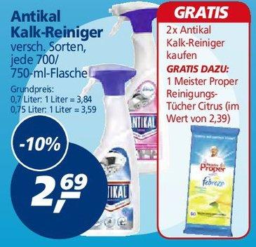 Ab Mo 14.07. bei real: 2x Antikal Kalk-Reiniger und 1x Mr Proper Reinigungstücher für 3,38 statt 7,77