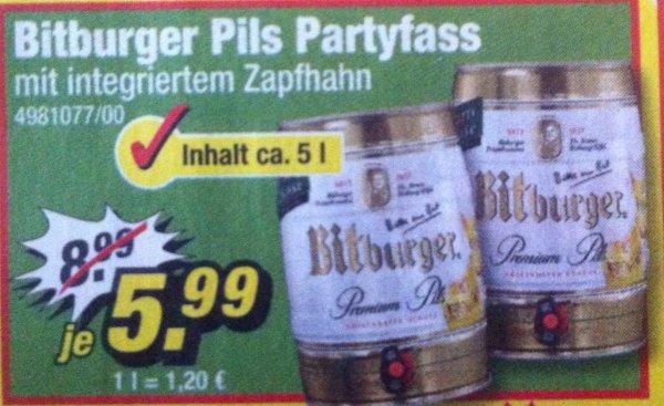 Bitburger 5L Partyfass für 5,99€ @ Poco Möbelmarkt