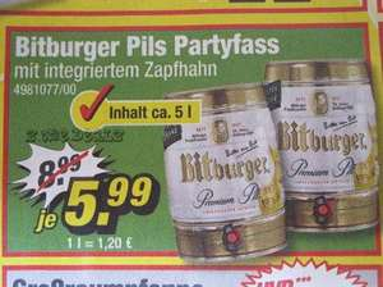 5 Liter Partyfass Bitburger Premium Pils für 5,99€ @ POCO
