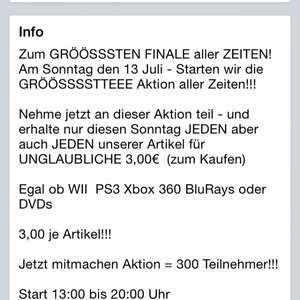 [LOKAL cloppenburg] Ps3, Xbox, BluRay je 3€ nur Morgen