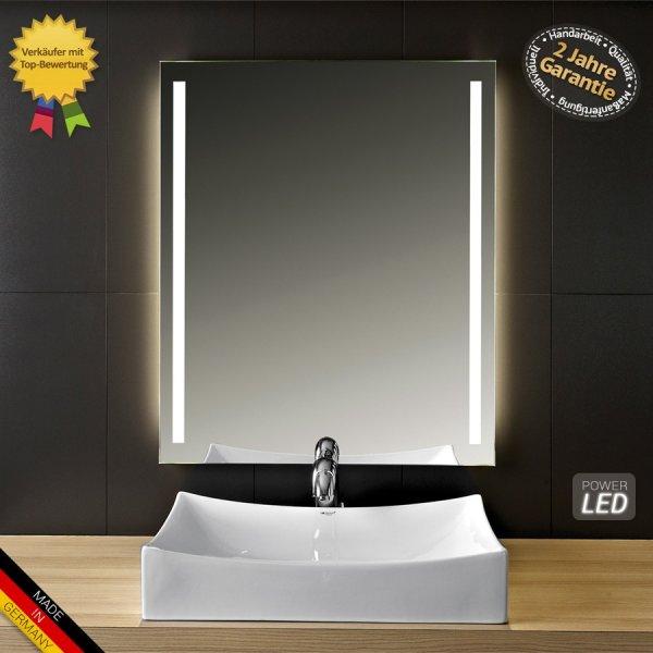 LED Badspiegel mit Beleuchtung, 60x80cm oder 80xcm, Zeitloses-Design, Made in Germany, Weltmeisterpreis 84,55€