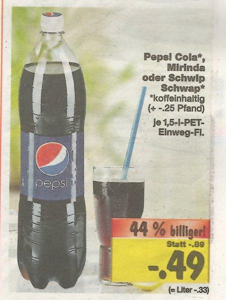 Pepsi/Schwip-Schwap/Mirinda 1,5 l 0,49€ bei Kaufland