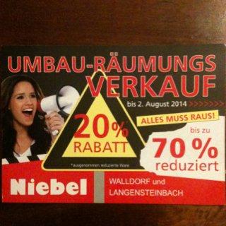 Niebel Räumungsverkauf in Walldorf und Langensteinbach - bis zu 70% Rabatt und 20% Rabatt auf alle nicht reduzierte Ware