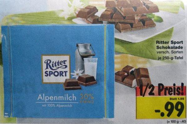 [Kaufland] Ritter Sport Schokolade 250g Großtafel für 0,99€
