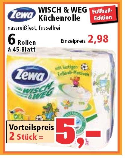 [ thomas-philipps]12 Rollen Zewa Wisch & Weg Küchentücher (2 Pakete a 6 Rollen) für 5€