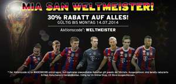 FC Bayern München 30 % auf alles im Online Fan-Shop WELTMEISTER