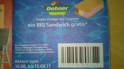 Big Sandwich Eis gratis bei Dehner