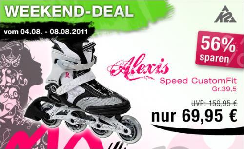 Frauen Inlineskate K2 Alexis Speed CustomFit für 69,90€ inkl. Versand & Gutscheincode