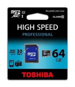 Toshiba Class 10 Micro SDXC 64 GB - Amazon Marketplace [26,19€]