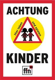 """Gratis """"Achtung Kinder"""" Plakat zum aufkleben, 60x85cm"""