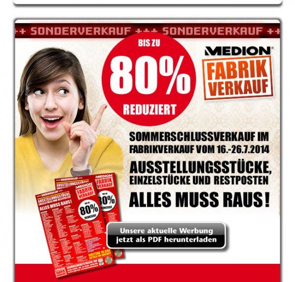 [offline - lokal Essen] Medion Fabrikverkauf SSV vom 16.-27.7.2014. Artikel bis zu 80% reduziert