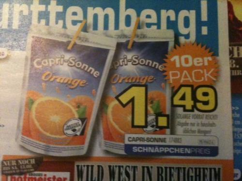 [LOKAL] CAPRI-SONNE Orange 10er-Pack 1,49 EUR @ Möbel Hofmeister Bietigheim-Bissingen und Leonberg