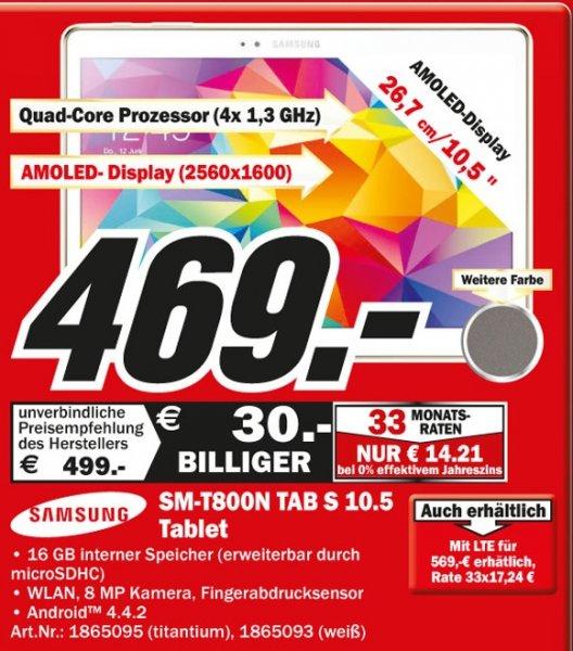 Samsung Galaxy Tab S 10.5 16GB WiFi für 469€,Bose SoundLink Bluetooth Mobile Speaker II für 199€ Lokal [Mediamarkt Hamburg]