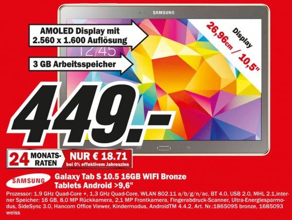 Samsung Galaxy Tab S 10.5 16GB WiFi für 449€ Lokal [Mediamarkt Saarbrücken]