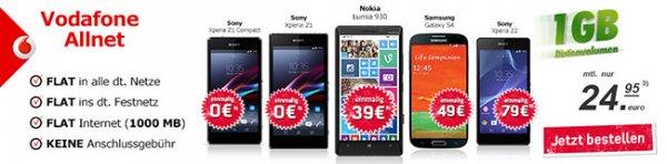 Vodafone Allnet Flat mit 1GB Internet Flat und mit z.B. Nokia Lumia 930 für einmalig 39,-€, für monatlich 24,95€!