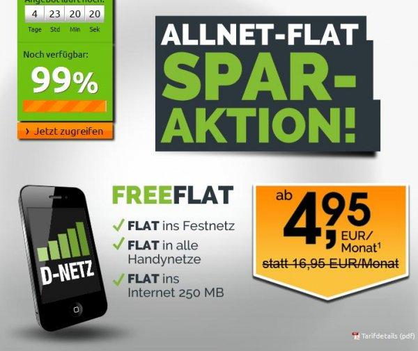 Telekom Allnet Flat 250MB für 8,28EUR / 500MB + SMS Flat für 12,28€ / 1000MB + SMS Flat für 16,28€ @Freenet Mobile / Crash