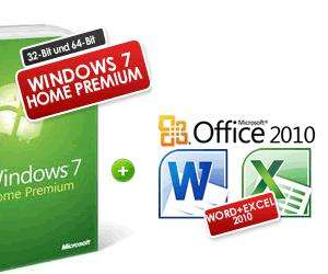 Windows 7 Home Premium, Deutsche Vollversion 32-Bit oder 64-Bit Version + Office Starter 2010 Vollversion  99,00 @Softwarenochbilliger.de