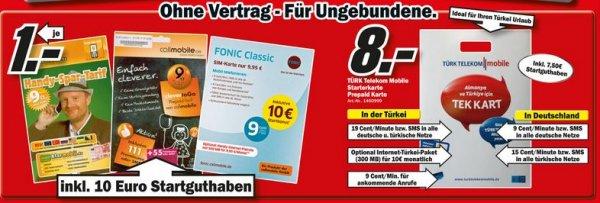[Lokal MediaMarkt OWL] Fonic; Callmobil; Klarmobil für 1€ inkl. 10€ Guthaben ; Türk Telekom Mobile Starterkarte für 8€ inkl. 7,5€ Guthaben