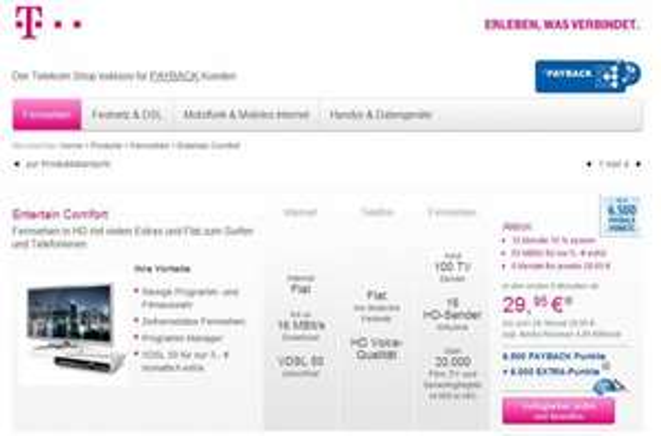 12500 Payback Punkte bei Abschluss von Telekom Entertain oder Call&Surf