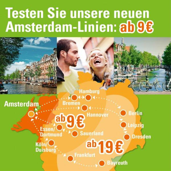 Amsterdam-Linien: ab 9€ bei MeinFernBus