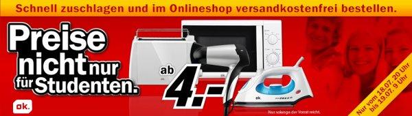[Media Markt] Toaster, Kaffeemaschine, Wasserkocher oder Bügeleisen für je 5€ incl. Versand / Föhn ab 4€ incl. Versand