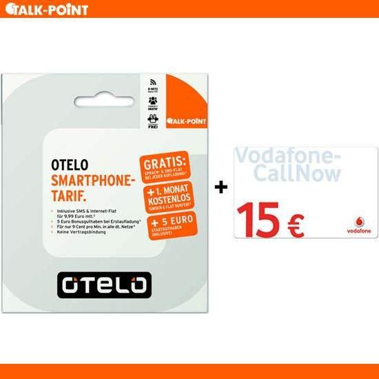 Vodafone Callnow 15€ unter Nennwert + kostenlose otelo