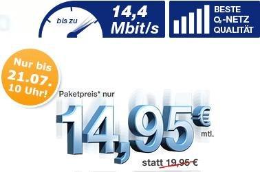 simply: All-in 500 plus für 7,95€, Flat XM 1000 plus 1 GB Daten bis zu 14,4 Mbit/s für 14,95 Euro im O2-Netz + Gutschein für ein FOCUS Jahresabo im Wert für 150€