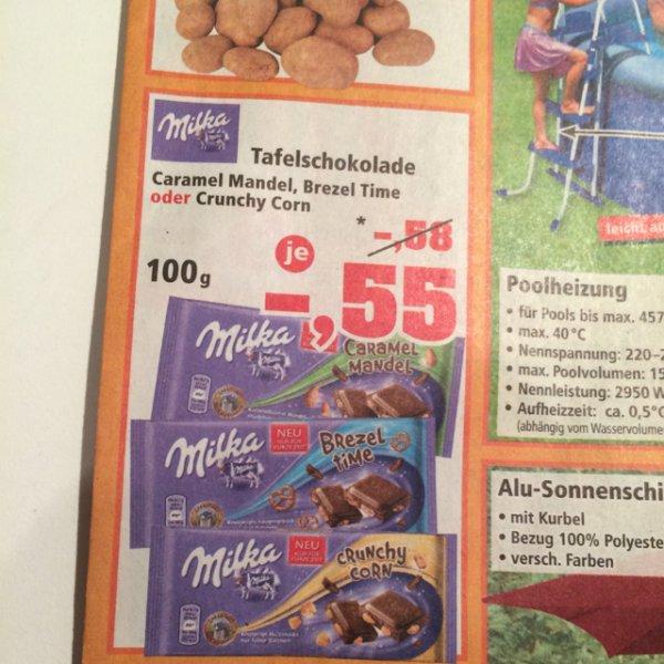[Lokal Thomas Philipps] Milka Crunchy Corn; Caramel Mandel; Brezel Time für 55 cent