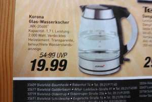 [Lokal?] Korona Glas Wasserkocher 19,99€ nächster Preis 36,99€