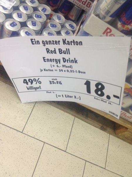 24 x Red Bull für 18 Euro + 6 Euro Pfand