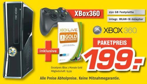 XBOX 360 Slim 250GB + 3 Monate XBOX Live Gold @ MediMax