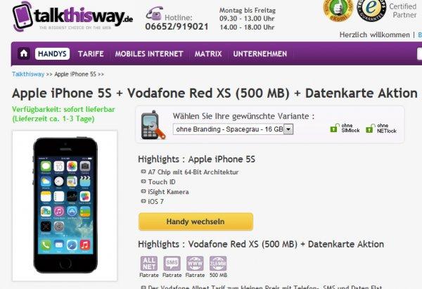 IPhone 5s + All Net Flat im D-Netz für mtl. 29,99 EUR
