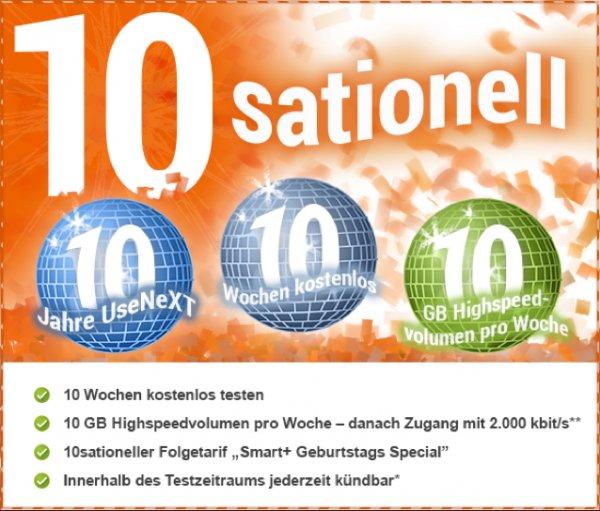 UseNeXT - 10 Wochen gratis Testen - 10GB pro Woche ( max 10 Wochen , 100GB ,  ) Datenvolumen danach 2000 kb/s , jederzeit kündbar