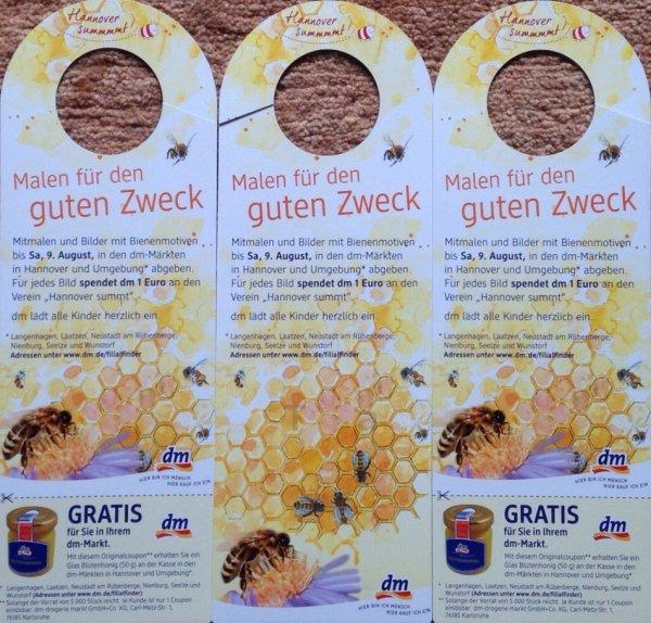 """[Lokal Region Hannover] 1 Glas Blütenhonig (50g) kostenlos bei dm und 1€ Spende an """"Hannover summt!"""" von DM für ein Bienenbild"""