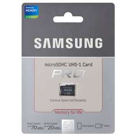 Samsung 64GB Pro Speicherkarte Class 10 Micro SD Micro sdxc Adapter