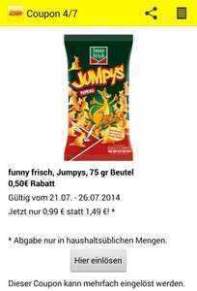 funny frisch Jumpys - 75g Beutel - 0,99€ [Netto App]