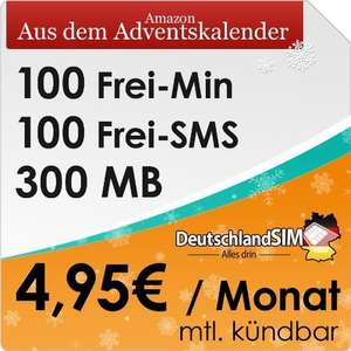 DeutschlandSIM Smart 100 für 4,95€  aus Amazon-Adventskalender wieder da!