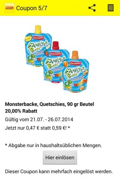 Ehrmann Monsterbacke Quetschies - 90g für 0,47€ [Netto App]