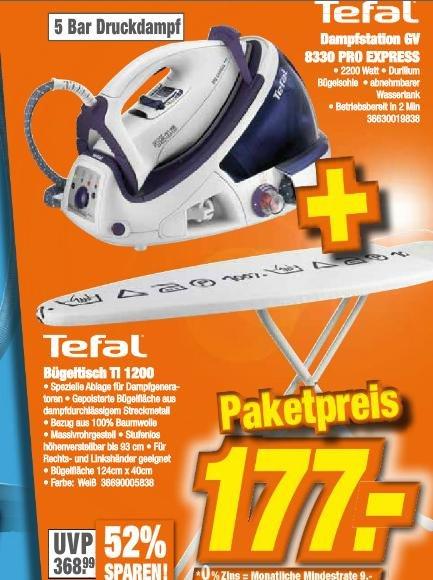 [LOKAL] Tefal Dampfstation GV 8330 & Bügeltisch TI 1200 im Paket @expert klein
