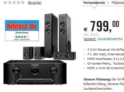 .Marantz SR5008B 7.2 AV-Receiver + Audio Pro Avanto 5.0 Lautsprechersystem 799€ inkl. Versand @ Cyberport