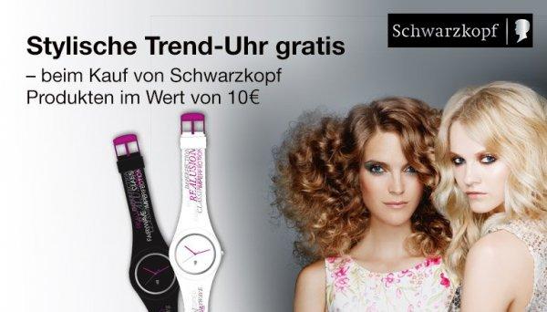 Gratis Trend-Uhr beim Kauf von Schwarzkopf Produkten im Wert von 10 Euro