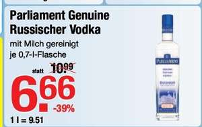 [LOKAL] Parliament Vodka 0,7 l, 40 %, ab 24.7. bei V-MARKT München und Ulm für 6,66 €