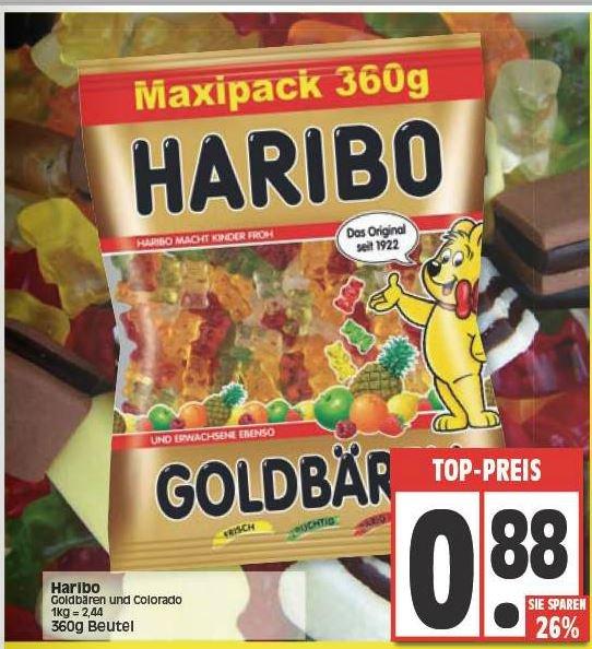 Haribo Goldbären und Colorado 360g Maxipack für 0,88€ EDEKA